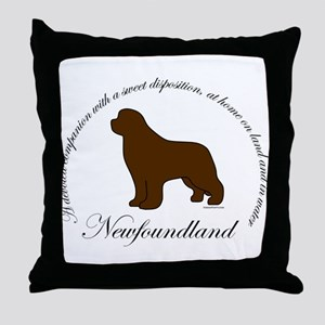 Devoted Brown Newf Throw Pillow