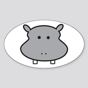 Hippo Head Sticker (Oval)