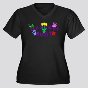 Bestest Aunt Women's Plus Size V-Neck Dark T-Shirt