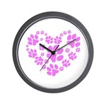 Paws Heart Wall Clock