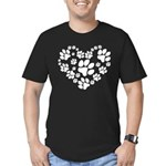 Paws Heart Men's Fitted T-Shirt (dark)