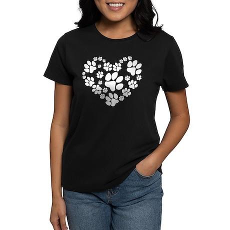Paws Heart Women's Dark T-Shirt