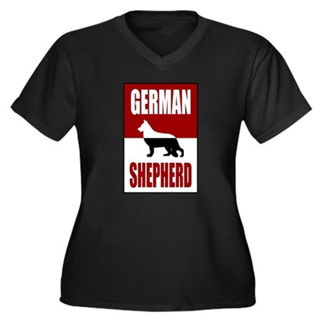 German Shepherd Dog Women's Plus Size V-Neck Dark