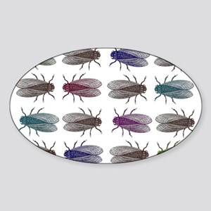 Fruit Fly Antique Engraving Sticker (Oval)