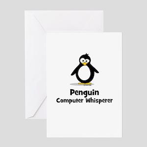 Penguin Computer Whisperer Greeting Card