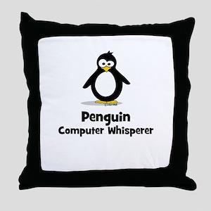 Penguin Computer Whisperer Throw Pillow