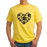 Paws Heart Yellow T-Shirt