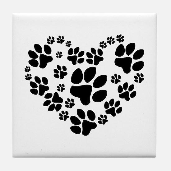 Paws Heart Tile Coaster