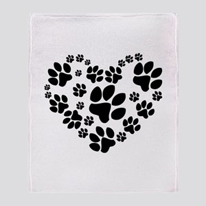Paws Heart Throw Blanket