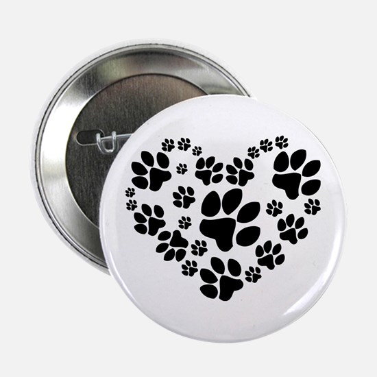 "Paws Heart 2.25"" Button"