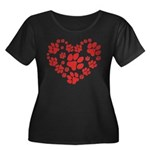 Paws Heart Women's Plus Size Scoop Neck Dark T-Shi