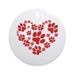 Paws Heart Ornament (Round)