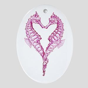 Seahorses heart Ornament (Oval)