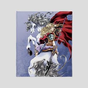 Anime Warrior Girl on Horseback Throw Blanket