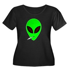 Stoned A Women's Plus Size Scoop Neck Dark T-Shirt