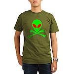 Alien Skull and Bones Organic Men's T-Shirt (dark)