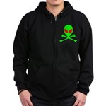 Alien Skull and Bones Zip Hoodie (dark)