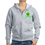 Alien Skull and Bones Women's Zip Hoodie