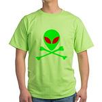 Alien Skull and Bones Green T-Shirt