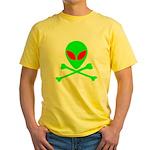 Alien Skull and Bones Yellow T-Shirt