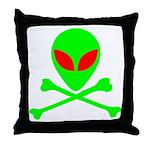 Alien Skull and Bones Throw Pillow