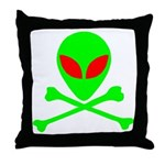 Alien Skull and Bones Throw Pillow