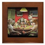 Italian Greyhound Poker Dogs Framed Tile