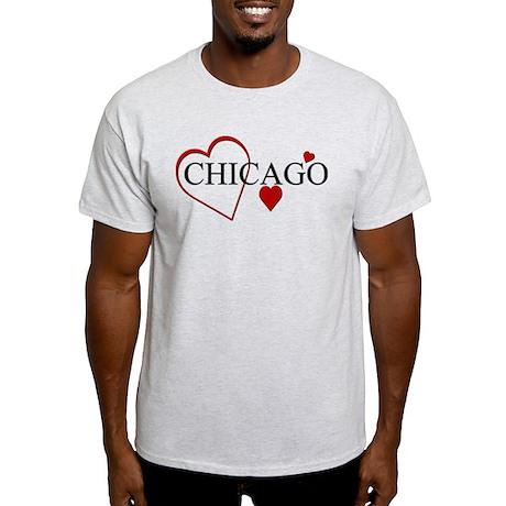 I Love Chicago Hearts Light T-Shirt