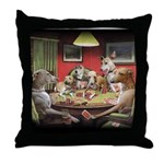 Italian Greyhound Poker Dogs Throw Pillow
