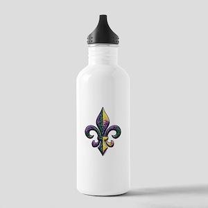 Fleur de lis Mardi Gras beads Stainless Water Bott
