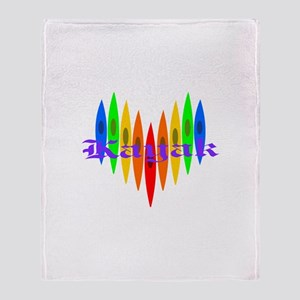 Rainbow Kayaker's Heart Throw Blanket