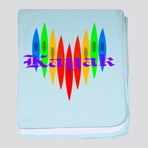 Rainbow Kayaker's Heart baby blanket