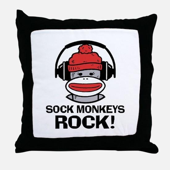 Sock Monkeys Rock Throw Pillow
