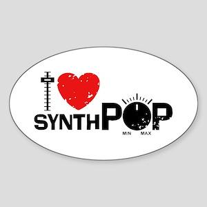 I Love Synthpop Sticker (Oval)