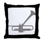 Dizzy's Horn Silver Silhouett Throw Pillow