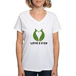 Love 2 Fish Women's V-Neck T-Shirt