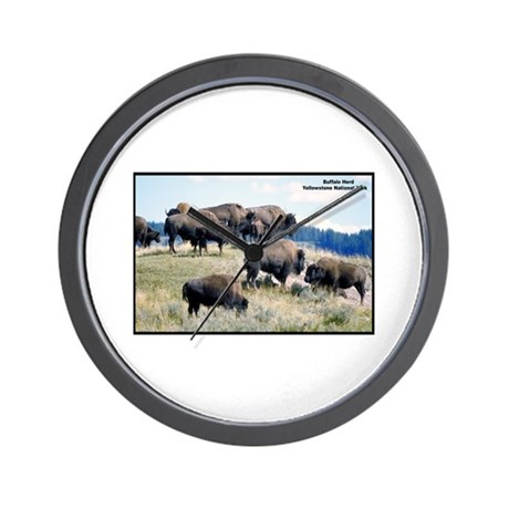 Yellowstone Buffalo Herd Wall Clock