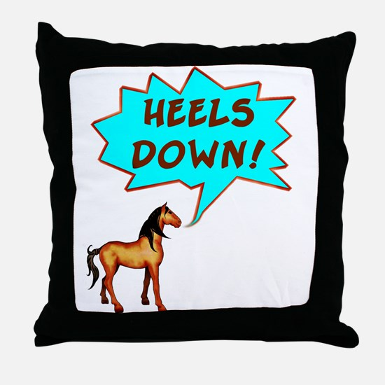 Heels Down with Horse  Throw Pillow