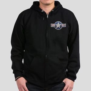 USAF US Air Force Roundel Zip Hoodie (dark)