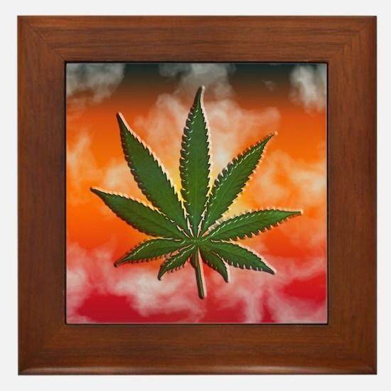 Pot Leaf Framed Tile