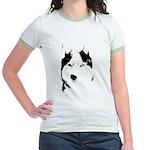 Siberian Husky Sled Dog Jr. Ringer T-Shirt