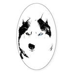 Siberian Husky Sled Dog Sticker (Oval 10 pk)