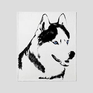 Siberian Husky Blanket Sled Dog Throw Blanket
