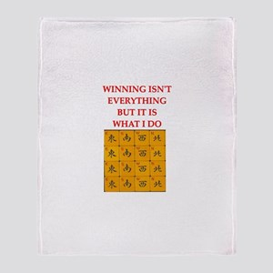 funny mahjong Throw Blanket