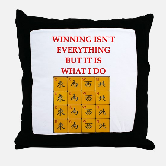 funny mahjong Throw Pillow
