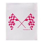 Pink Crossed Checkered Flags Throw Blanket