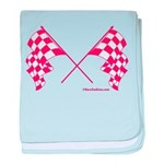 Pink Crossed Checkered Flags baby blanket
