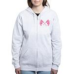 Pink Crossed Checkered Flags Women's Zip Hoodie