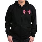 Pink Crossed Checkered Flags Zip Hoodie (dark)