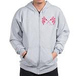 Pink Crossed Checkered Flags Zip Hoodie